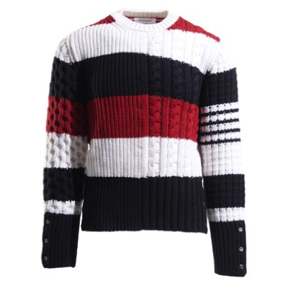 THOM BROWNE/RUGBY STRIPE FUN MIX CHUNKY CABLE CREWNECK PULLOVER