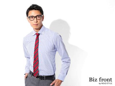 形態安定ビジネスカジュアルボタンダウンストライプシャツ