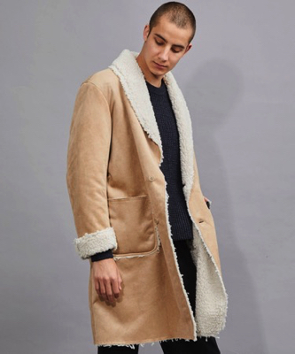 BEDWIN&THE HEARTBREAKERS/SHAWL COLLAR SUEDE MOUTON COAT 'HOLMAN'