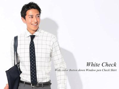 ワイドカラーボタンダウンウィンドウペンチェックビジネスカジュアルシャツ