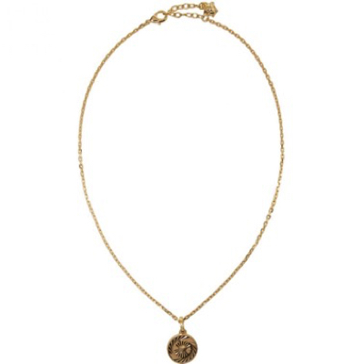 Gold Round Chain Pendant Necklace