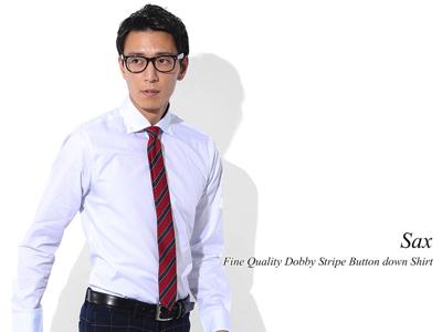 ファインクオリティドビーストライプビジネスカジュアルボタンダウンシャツ