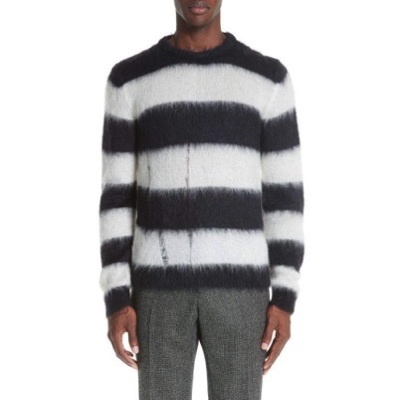 SAINT LAURENT/Stripe Mohair Blend Crewneck Sweater