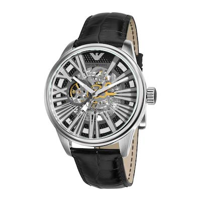 Meccanico Black Skeleton Dial Watch