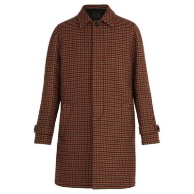 Prada/Checked virgin-wool coat