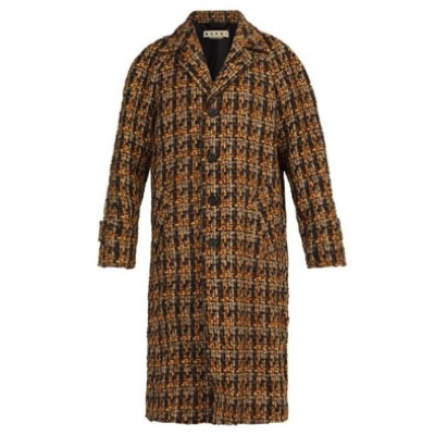 Marni/Houndstooth wool-blend tweed coat