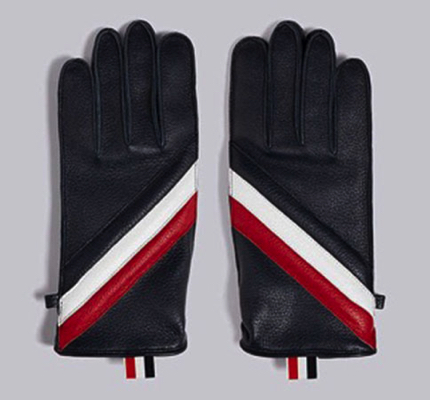Thom Browne/QUILTED DEERSKIN LEATHER GLOVE