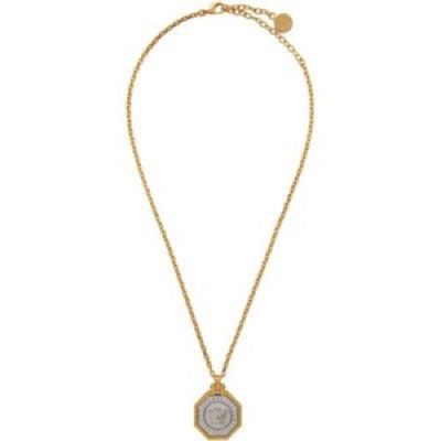 Gold Octogonal Medusa Head Necklace