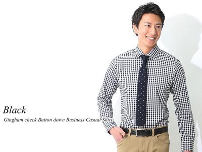 ギンガムチェックボタンダウンビジネスカジュアルシャツ