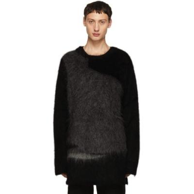 Yohji Yamamoto/Black & Grey Mohair Crewneck Sweater