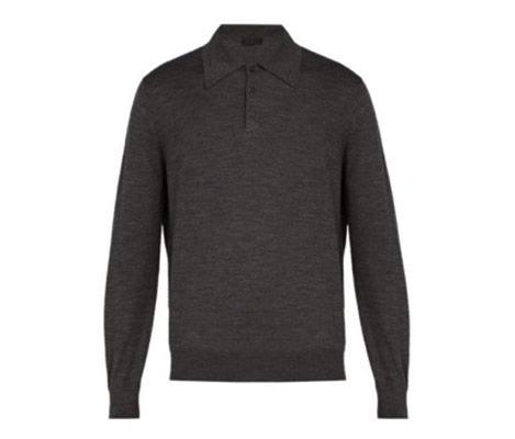 Prada/Spread collar fine knit sweater