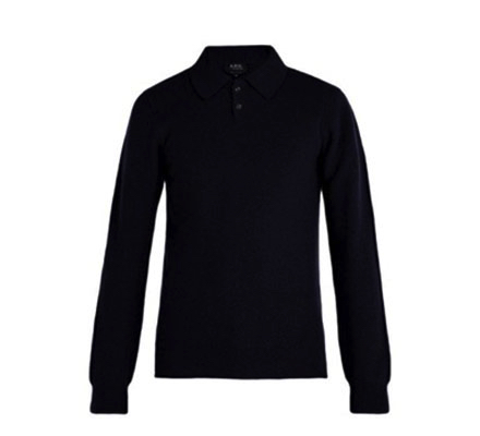 A.P.C. /Guitry wool-blend long-sleeved polo shirt