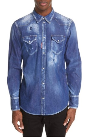 Dsquared2/Distressed Denim Shirt