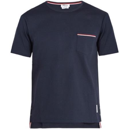Thom Browne/Contrast-trim cotton T-shirt