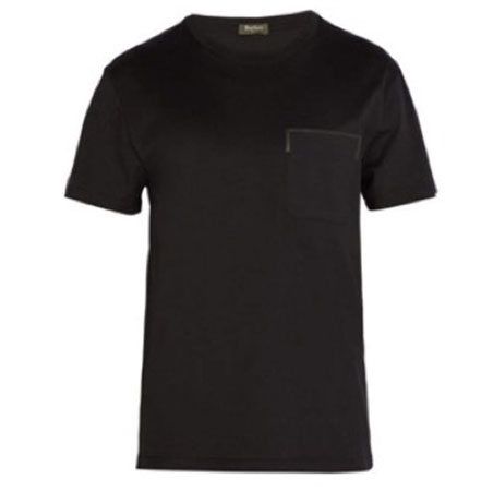 Berluti/Leather trim-pocket crew-neck T-shirt