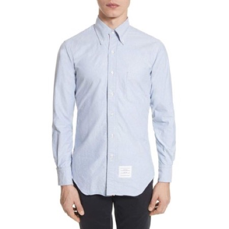 THOM BROWNE/Extra Trim Fit Oxford Shirt with Grosgrain Trim