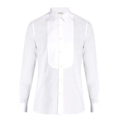 Saint Laurent/Rounded-bib tuxedo cotton shirt