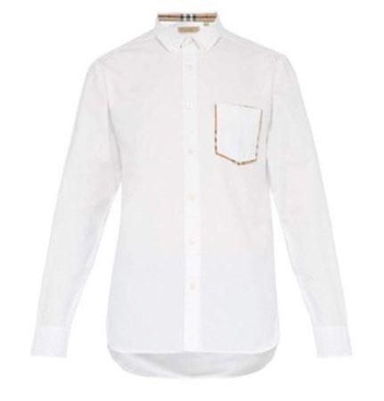 Burberry/Check-trim cotton oxford shirt