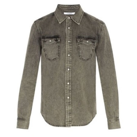 Givenchy/Point collar washed denim shirt