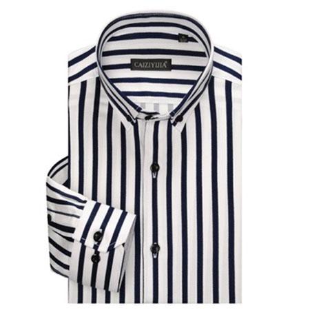 MUZJOY/綿100% スリム ストライプシャツ