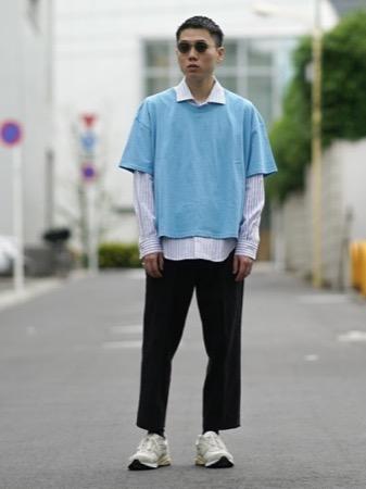 ストライプシャツ コーデ