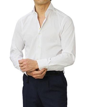 GIANNETTO/VINCI FIT コットンストレッチブロードセミワイドカラーシャツ