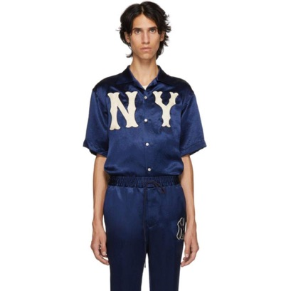 Gucci/Blue NY Yankees Edition Patch Shirt