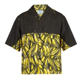 Prada/Banana-print cotton shirt