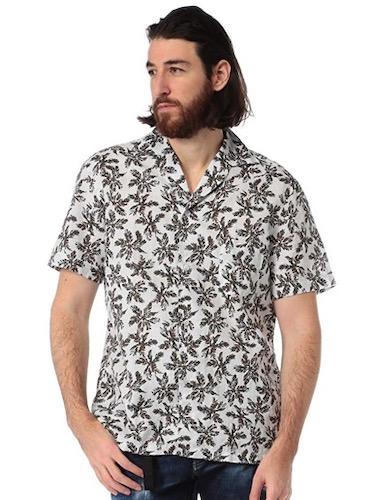 LARDINI/ブートニエール 麻混 オープンカラーシャツ