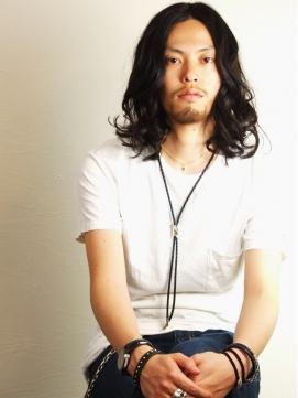 クラッシュウェーブ黒髪ロングスタイル