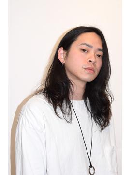 ソフトツーブロック×メンズ黒髪ロングヘア