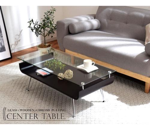 強化ガラス 木製棚付きテーブル