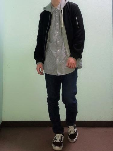 ボンバージャケット×パーカー×シャツ(GU)