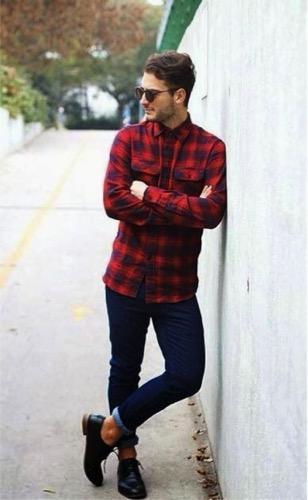 赤 チェックシャツ