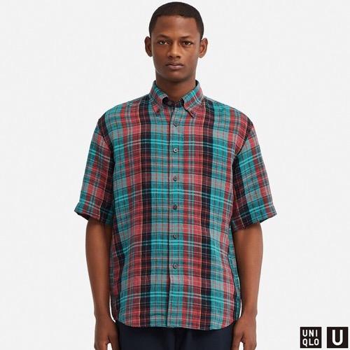 プレミアムリネンワイドフィットチェックシャツ(半袖)