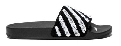 Off-White/Flyknit rubber slides