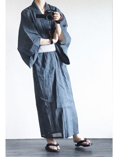 紺浴衣×シルバーグレー帯