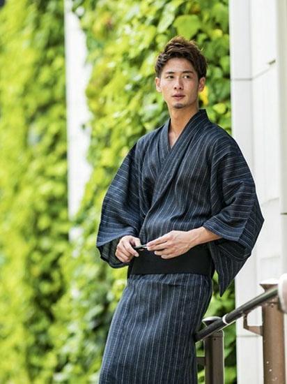 紺ストライプ浴衣×紺帯