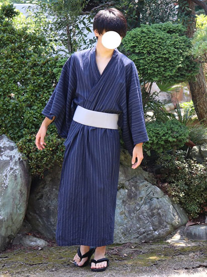 紺ストライプ浴衣×白帯