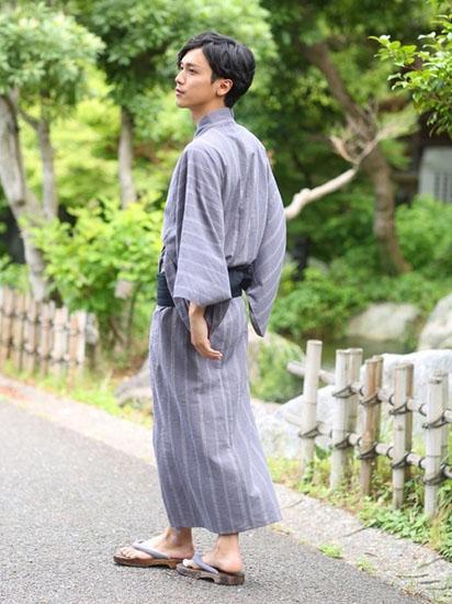 グレーストライプ浴衣×紺帯