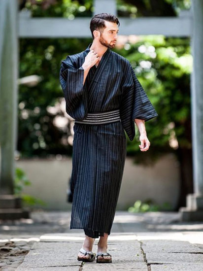 紺ストライプ浴衣×紺織帯
