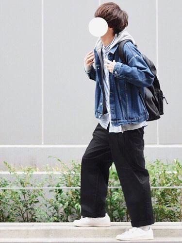 デニムジャケット×ストライプシャツ×ワイドパンツ