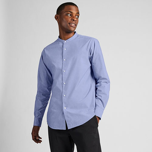 エクストラファインコットンブロードスタンドカラーシャツ(長袖)