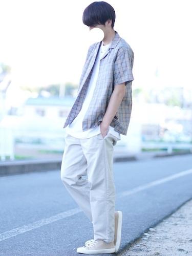 青チェックシャツ×パンツ