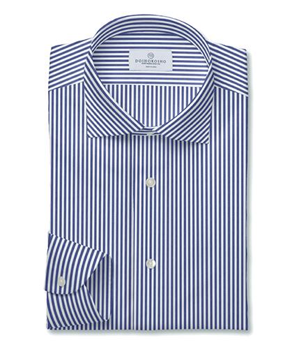 100番手双糸ネイビーブロードストライプドレスシャツ