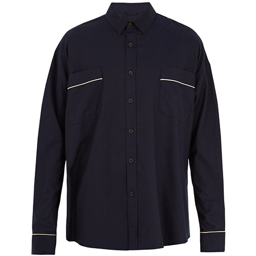 Contrast-piped oversized cotton-twill shirt