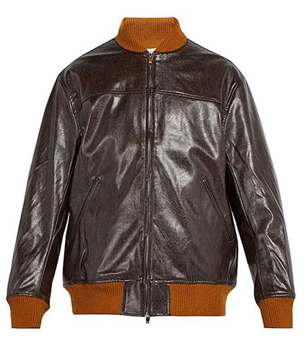 Needles/Men`s Faux-leather bomber jacket