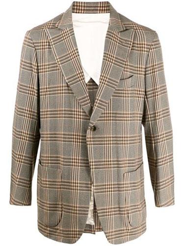 check print peaked lapel blazer