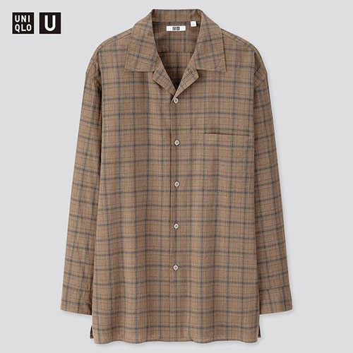 チェックオープンカラーシャツ(長袖)