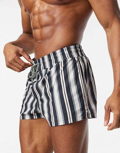 swim shorts in black and white stripe in super short length